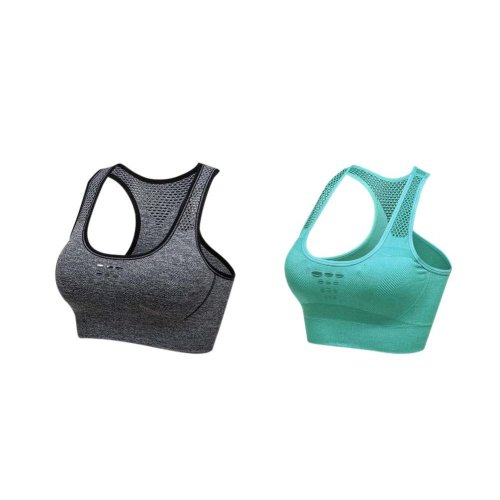 2 Pack Comfort Sport Bra Performance Exercise Underwear For Women Grey And Green