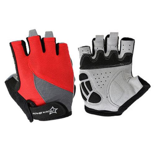 Sports Fingerless Gloves Half Finger Cycling Glove Bike Gloves - Red