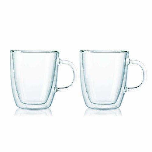 BODUM UK Double Wall Bistro Mug, Glass, Clear, 0.3 Litre, 2-Piece