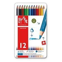12 Coloured Pencils In A Tin -  caran pencils 12 colour dache fancolor water soluble watercolour swisscolor new tin