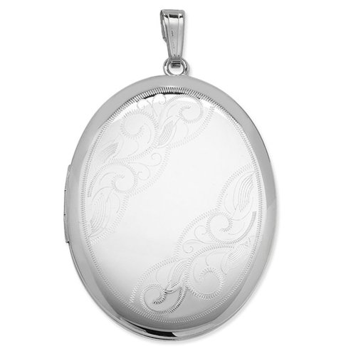 Childrens Sterling Silver Swirl Corner Pattern Oval Locket On A Curb Necklace