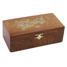 Retro Wooden Jewelry Storage Box Safe Stationery Box-19*10*6 CM
