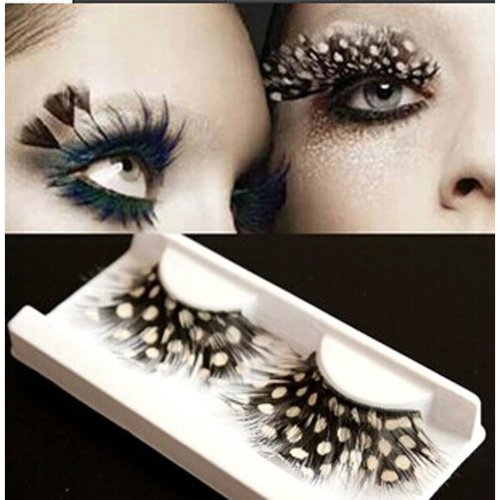Stage Performances Exaggerated White Dots Feather False Eyelashes 5 Pairs
