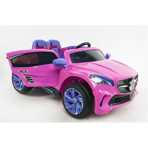 RideonToys4u Mercedes Style 12V Electric Ride on Car With Leather Seats Headlights Music Parental Remote and Safety Belt Colour Pink Ages 3-6 Years