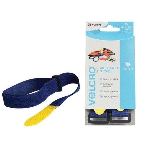 VELCRO Brand 60328 VELCRO Brand Adjustable Straps 25mm x 46cm Blue Pack of 2