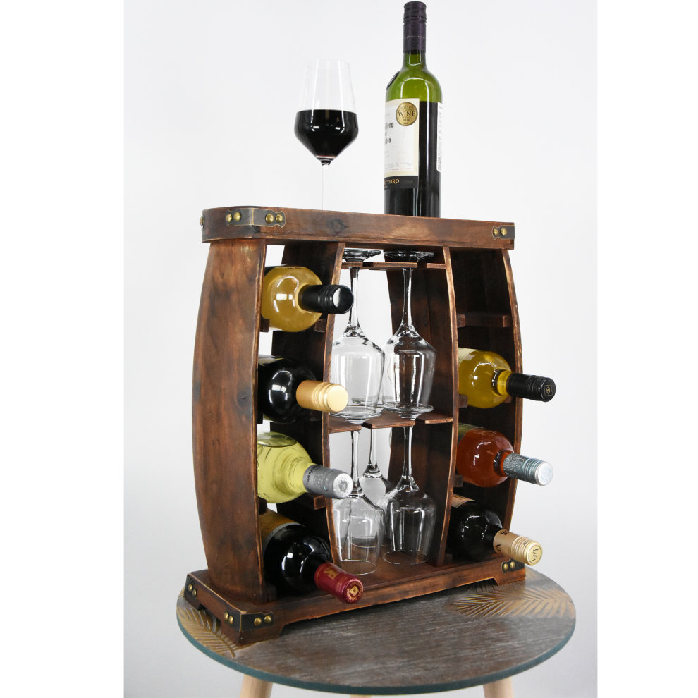 (Glass and Bottle Cabinet) Wooden Freestanding Wine Rack ...