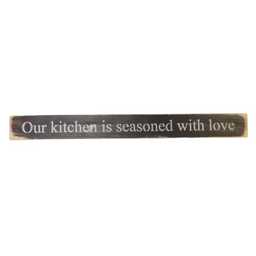 Long Wooden Sign - Our Kitchen Is Seasoned With Love