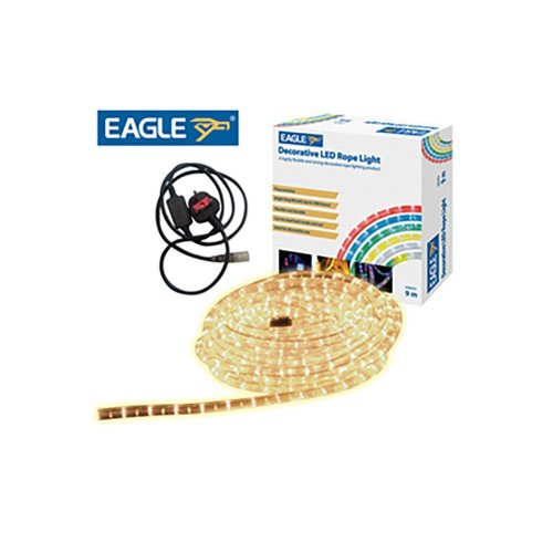 Eagle Static Plug and Play LED Rope Light 9m warm white