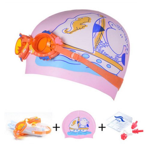 Ship Pattern Childern Scuba Diving Free Diving Goggles & Swimming Cap, Pink