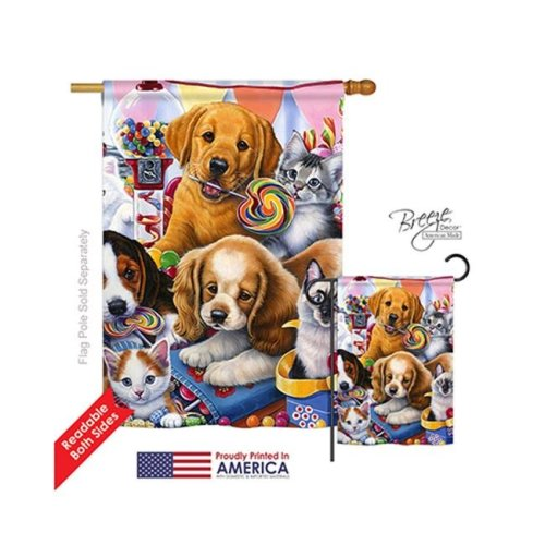 Breeze Decor 10070 Pets Sweet Ones 2-Sided Vertical Impression House Flag - 28 x 40 in.