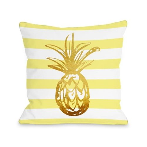 One Bella Casa 74996PL16 Tropical Stripes Pineapple Pillow, Yellow - 16 x 16 in.