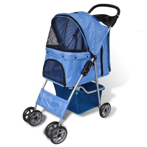 vidaXL Folding Pet Stroller Dog/Cat Travel Carrier Blue Transport Trolley