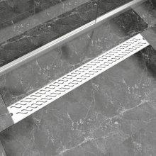 vidaXL Linear Shower Drain Wave 1030x140 mm Stainless Steel
