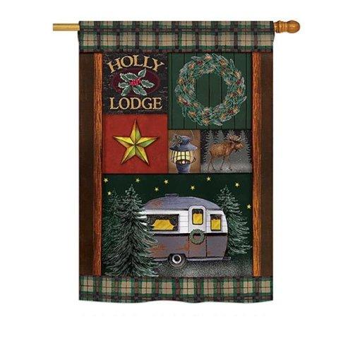 Breeze Decor BD-WT-H-114143-IP-BO-DS02-US Holly Lodge Winter - Seasonal Winter Wonderland Impressions Decorative Vertical House Flag - 28 x 40 in.