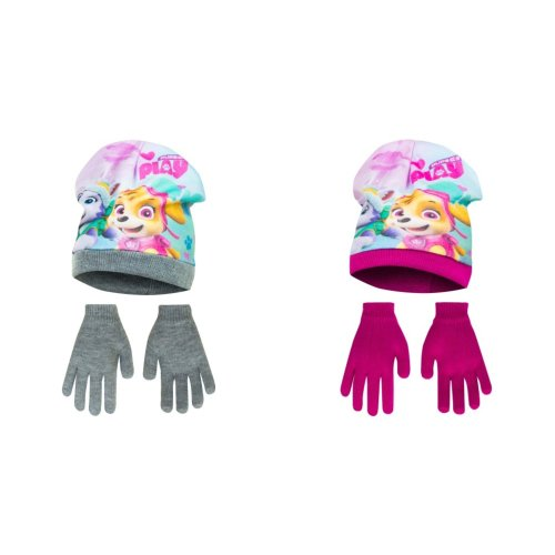 Paw Patrol Childrens Girls Pups At Play Winter Hat And Gloves Set