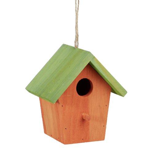 Relaxdays Colourful Deco Birdhouse, Wooden, Small Bird Feeder, Hanging Spring Decor, HxWxD: 16 x 15 x 11 cm, Orange / Green