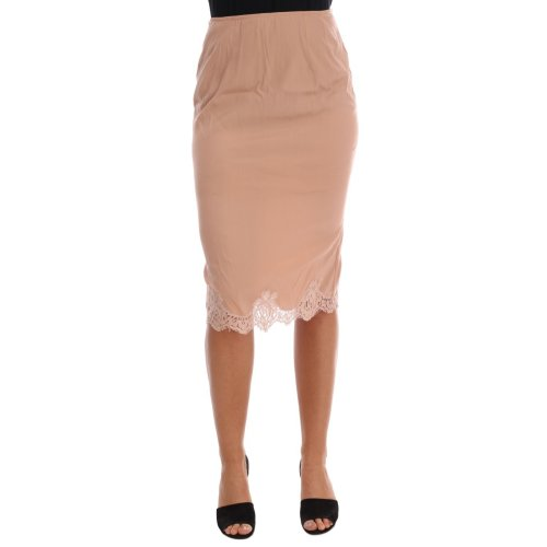Dolce & Gabbana Beige Lamb Wool Lace Underwear Skirt