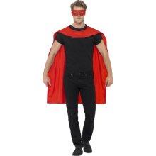 Smiffy's Men's Superhero Accessory Kit (red) -  superhero cape mask fancy dress mens outfit adult ladies eyemask women cloak