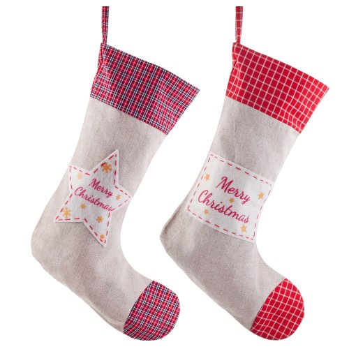 Pair of Linen & Red Tartan 38cm 'Merry Christmas' Stockings