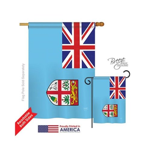 Breeze Decor 08264 Fiji 2-Sided Vertical Impression House Flag - 28 x 40 in.