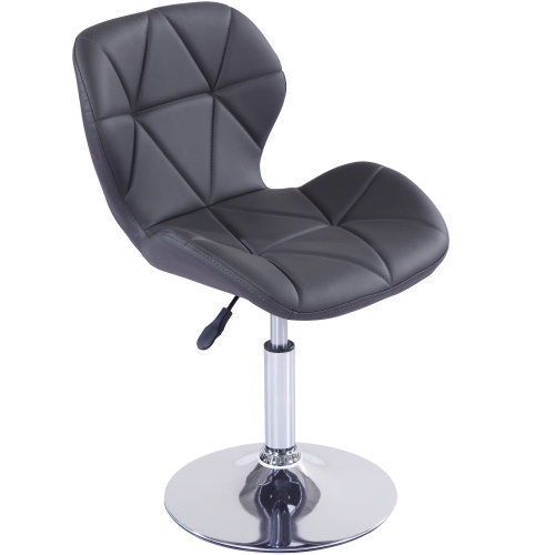 (Grey) Cushioned Swivel Chair | Small Adjustable Computer Chair