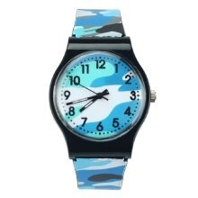 Blue Camouflage Army Childrens Boys Silicone Wrist Watch