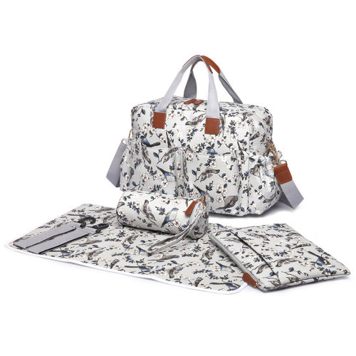 Miss Lulu 4pcs Bird Flower Baby Nappy Diaper Changing Bag Set
