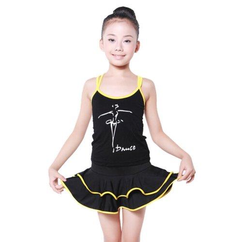 YELLOW Girls Performance Costumes Latin Dance Dress, 100-110CM Height
