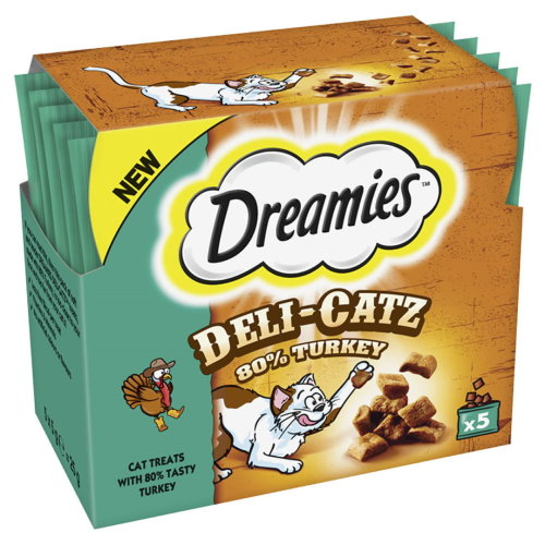 Dreamies Deli-catz Cat Treats With Turkey 5x5g Pack (Pack of 16)