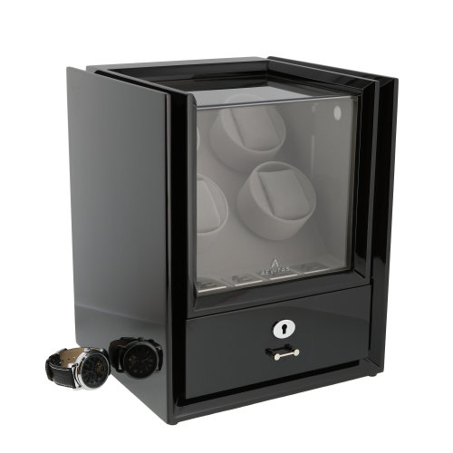 4 Watch Winder + Storage Black Piano Wood Magnum Collection by Aevitas