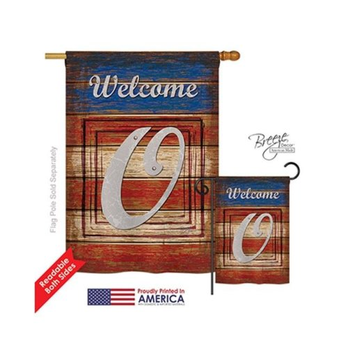 Breeze Decor 30119 Patriotic O Monogram 2-Sided Vertical Impression House Flag - 28 x 40 in.