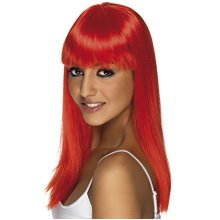 Adult's Neon Red Glamour Wig -  wig long red glamourama neon straight smiffys fancy dress ladies accessory costume womens