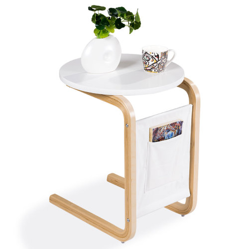 Coffee Sofa Bed Side Table End Tables W/ Side Pocket White Round