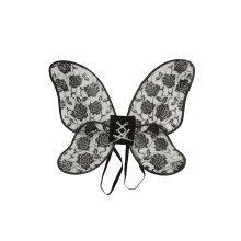 Black Glitter Rose Fairy Wings -  fancy dress rose wing accessory black blackglitter party adult wings prop FANCY DRESS WINGS BLACK GLITTER ROSE