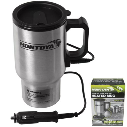 Montoya 12v Stainless Steel Heated Mug Car Van Caravan Thermal Heat Travel Cup