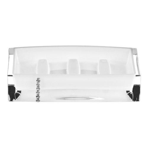 Acrylic Soap Dish with Diamante Detail - White