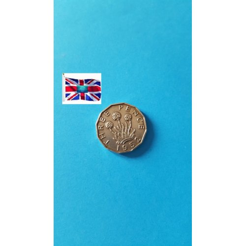 """Great Britain 1952 """"3 Pence - George VI without 'IND:IMP'"""