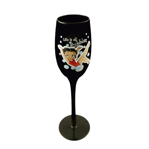 Betty Boop Black Flute Wine Glass - Bubbles