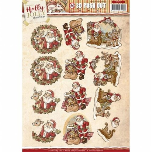 Find It Trading SB10123 Holly Jolly Santa Yvonne Creations Punchout Sheet
