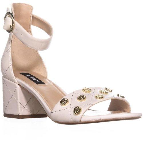 DKNY Henli Ankle Strap Block Heel Sandals, Black/Black, 4 UK