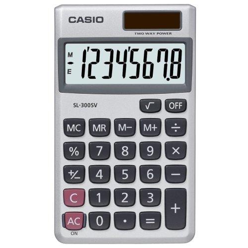 Casio Calculator Handheld Battery Solar-power 8 Digit 3 Key Memory Wallet 70x117x8mm Ref SL300SV