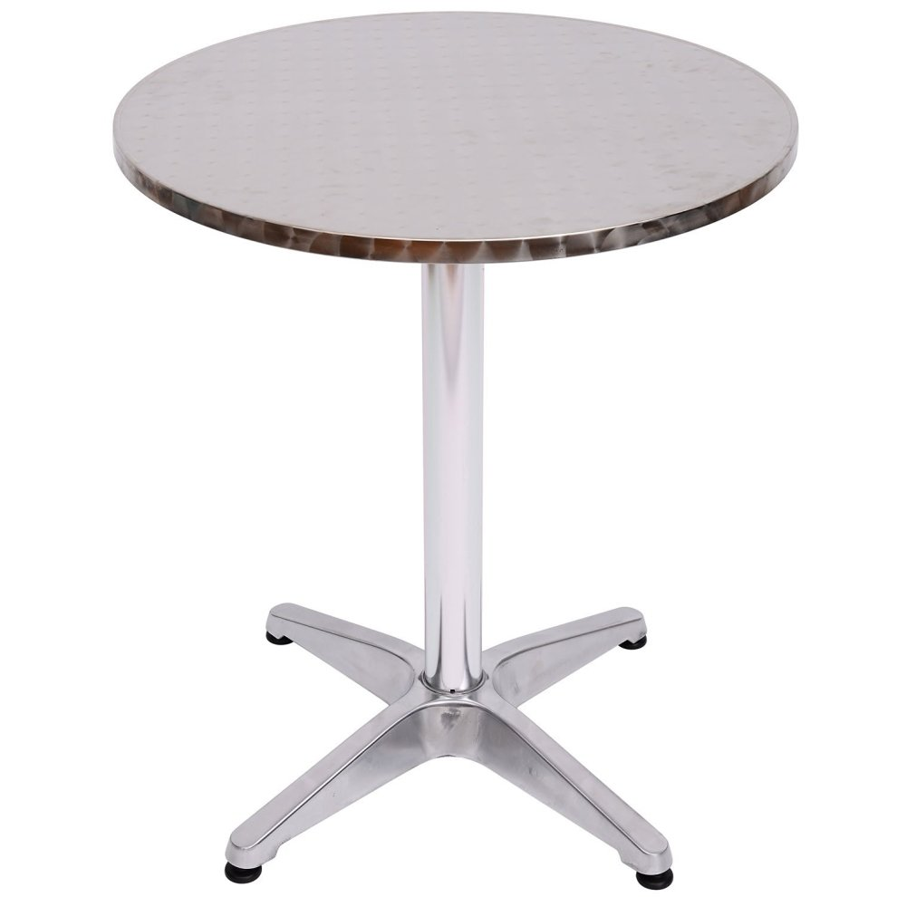 homcom round aluminium bistro table adjustable bar table on onbuy. Black Bedroom Furniture Sets. Home Design Ideas
