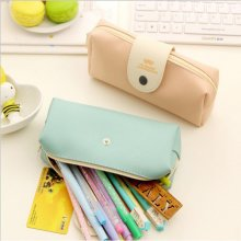 PU Pure Color Simple Snap Fastener Pencil Case Storage Bag Stationery Bags Large Capacity Zipper