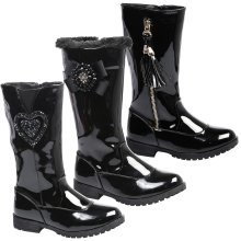 Kelly Girls Kids Low Heel Patent Mid Calf Boots