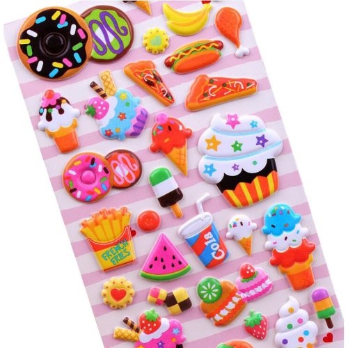 5 Sheets Funny Cartoon Stickers Children Decorative Toys[Food]