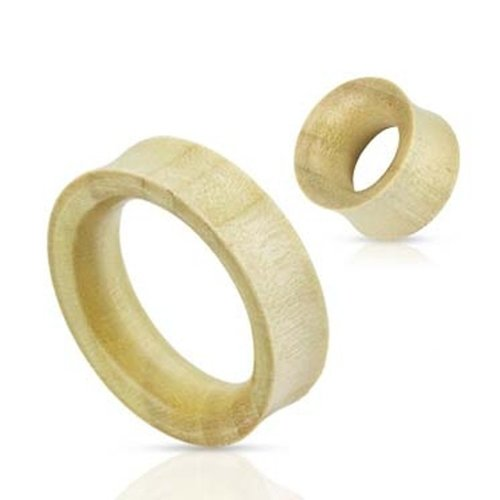 Urban Male Pair Of Organic White Crocodile Wood Double Flared Flesh Tunnels 6mm