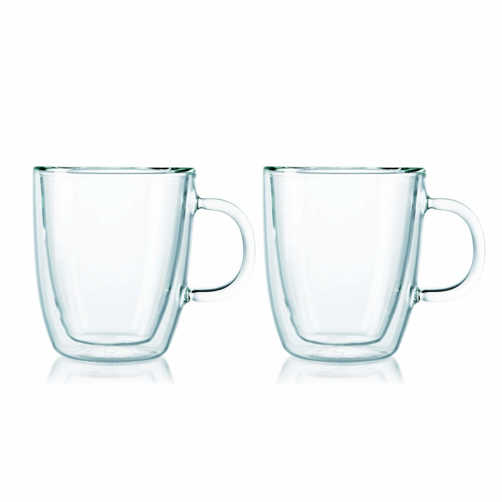 Bodum Uk Double Wall Bistro Mug Glass Clear 03 Litre 2 Piece
