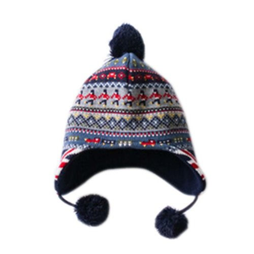 Warm Hat Knitted Hat Plus Velvet Ear Protection Hat Soldiers Jacquard Pattern