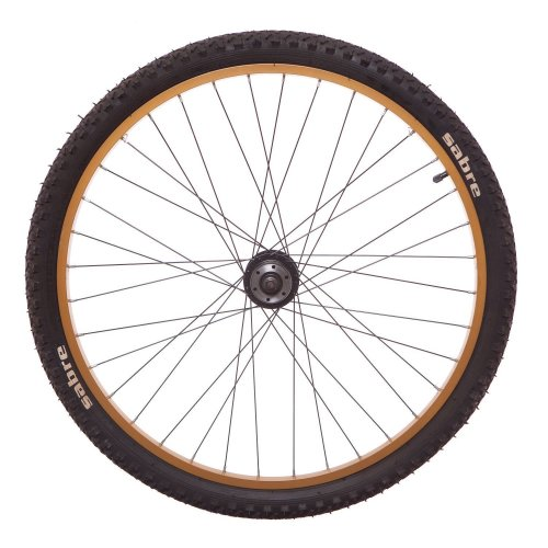"""SABRE 26"""" FRONT DISC Bike WHEEL (Tyre and Tube) in GOLD and BLACK New"""