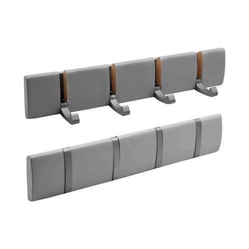 Harbour Housewares Wooden Wall Mount Coat Rack Hat Holder - 4 Foldaway Heavy Duty Metal Hooks - Grey - Pack of 2